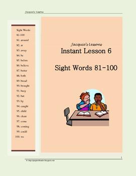 Sight Words 81-100