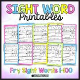 Sight Words for Kindergarten Worksheets 1-100