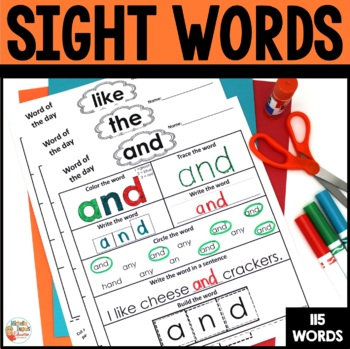 Sight Words -  99 Worksheets - Kindergarten - 1st grade