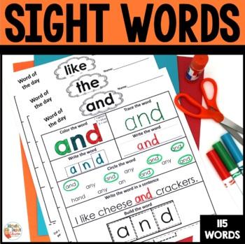 Sight Words -  115 Worksheets - Kindergarten - 1st grade