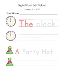 """Sight Words """"A & The"""" Exit Ticket"""