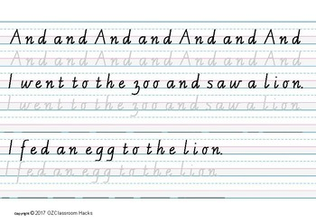 Sight Words AND, THE, WAS Writing Practise in Victorian Cursive Script