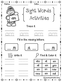 Sight Words Activities Set 2 (Primer)