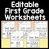 First Grade Sight Words Worksheets {41 Pages!} {Editable!}