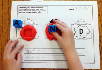First Grade Literacy Centers with Stamping Play-Doh {41 words!}