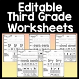 Third Grade Sight Word Worksheets {41 Pages!}
