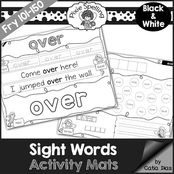 Sight Words Activity Mats - Fry 101-150 b&w edition