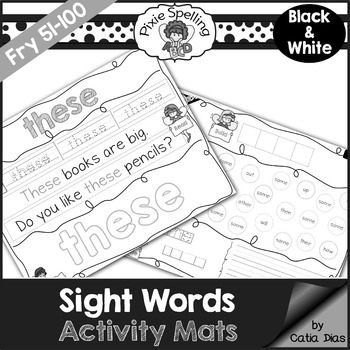 Sight Words Activity Mats - Fry 51-100 b&w edition