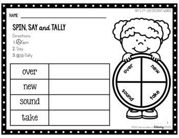 Sight Words Activity Fry's 2nd 100 Spin, Say & Tally (EDITABLE)