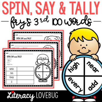 Sight Words Activity Fry's 3rd 100 Spin, Say & Tally (EDITABLE)