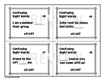 Sight Words Task Card Set (Off/Of)