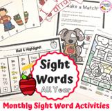 Sight Word Practice Activities Monthly Bundle