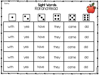 Sight Words - Apples