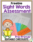 Sight Words Assessment Checklist {Kindergarten} Freebie