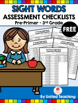 Sight Words Assessment Checklists Pre-Primer to 3rd Grade FREE