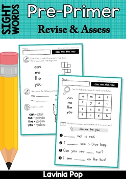 Sight Words Word Work: Revise and Assess Pre-Primer Words