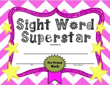 Sight Words Awards