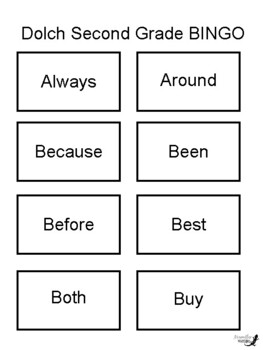 Sight Words BINGO! - Dolch Second Grade List