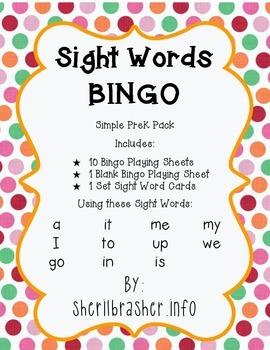 Sight Words BINGO: Simple PreK Pack