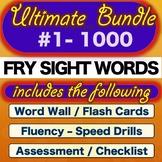 Sight Words BUNDLE- 1-1000  - Word Cards, Fluency Cards, A