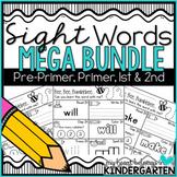 Sight Words Worksheets BUNDLE (pre-primer, primer, first and second)
