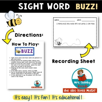 Sight Words | BUZZ Game | Reading | Literacy Games