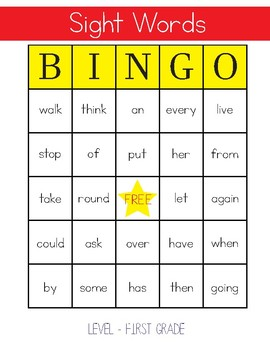 Sight Words Bingo - 1st Grade Level