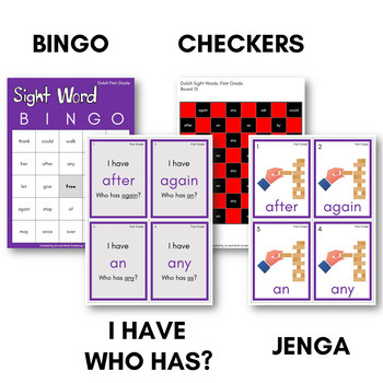Sight Words Bingo - Dolch First Grade in Color or B&W