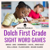 Dolch Sight Word Bingo, UNO, Dominoes, and Board Games (First Grade)