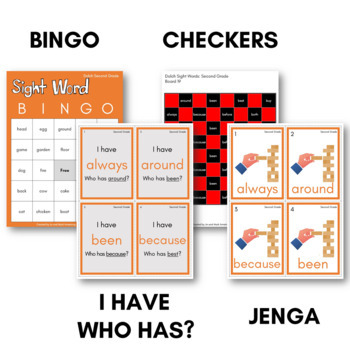 Dolch Sight Word Games (Second Grade) - Bingo, Dominoes, and Board Games