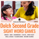 Dolch Sight Word Bingo, UNO, Dominoes, and Board Games (Second Grade)