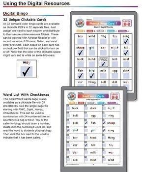 Sight Words Bingo: Dolch Nouns Set B Digital & Print Phonics Games