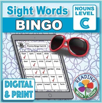 Sight Words Bingo: Dolch Nouns Set C Digital & Print Phonics Games