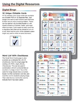 Sight Words Bingo: Dolch Nouns Set D Digital & Print Phonics Games