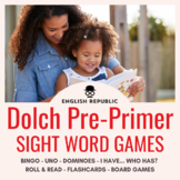 Dolch Sight Word Bingo, Dominoes, and Board Games (Pre-Primer)