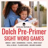 Dolch Sight Word Games (Pre-Primer): Bingo, UNO, Dominoes, and Board Games