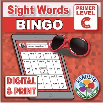 Sight Words Bingo: Dolch Primer Set C Digital & Print with Vowel Hints