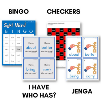 Sight Words Bingo - Dolch Third Grade in Color or B&W