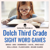 Dolch Sight Word Bingo, UNO, Dominoes, and Board Games (Third Grade)