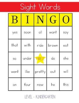 Sight Words Bingo - Kindergarten Level