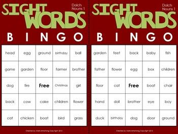 Sight Words Bingo - Nouns in Color or B&W