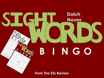Sight Words Bingo - Nouns in Color or B&W