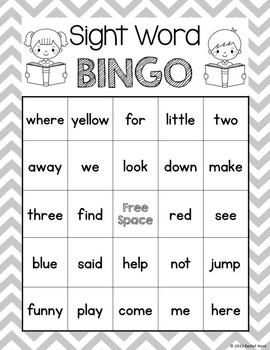 Sight Word Bingo - Pre-Primer