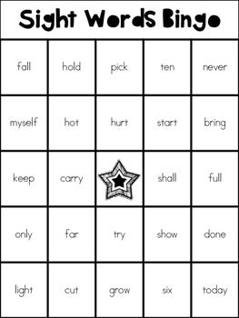 Sight Words Bingo / memory game Third Grade List {Freebie}