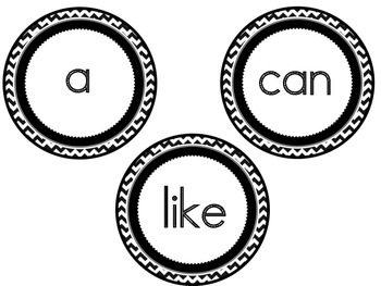 Sight Words Black and White Chevron