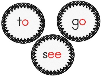 Sight Words Black and White Polka Dot