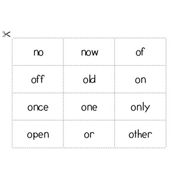 Sight Word Game - Blind Noughts and Crosses