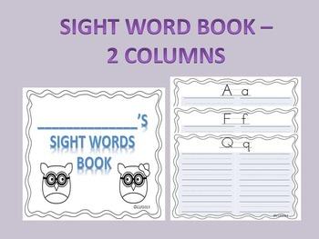 Sight Words Book - 2 Columns