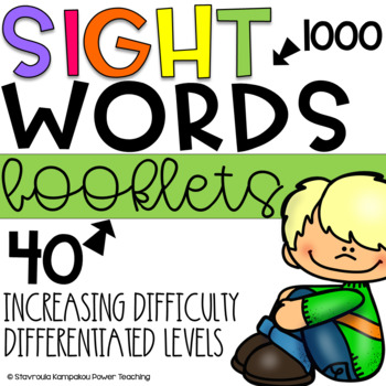 Sight Words Booklets for K-5,50 Booklets-1000 Fry Words