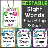 Sight Words Reward Tags EDITABLE (High Frequency Words Reward Tags & Book)